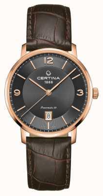 Certina Ds caimano Powermatic 80 pulseira de couro marrom mostrador cinza C0354073608700