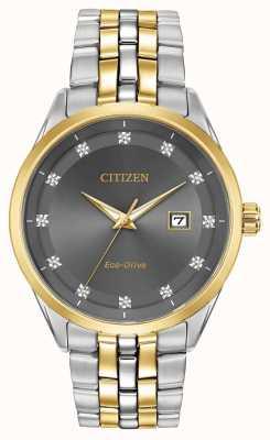Citizen Diamante de homens Corso conjunto cinza pulseira de dois tons de discagem BM7258-54H