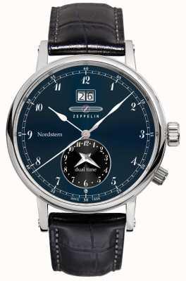 Zeppelin Nordstern dual time grande data mostrador azul pulseira de couro preto 7540-3