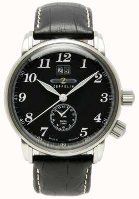 Zeppelin Contar dual time grande data display preto mostrador preto couro 7644-2