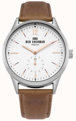 Ben Sherman Mostrador branco fosco e pulseira de couro tan WB015T