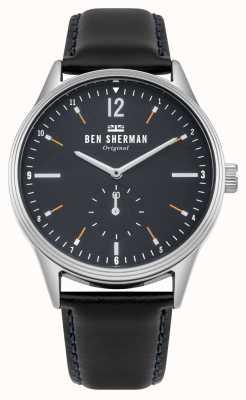 Ben Sherman Mostrador azul marinho fosco e pulseira de couro preto WB015UB