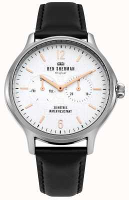 Ben Sherman Mostrador branco fosco e pulseira de couro preto WB017B