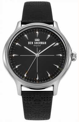 Ben Sherman Mostrador preto fosco e pulseira de couro preto WB018B