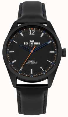 Ben Sherman Mostrador preto escovado e pulseira de couro preto WB019BB