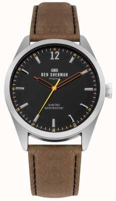 Ben Sherman Mostrador preto escovado e pulseira de couro bege WB019BT