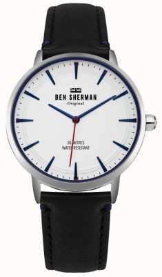 Ben Sherman Mostrador branco fosco e pulseira de couro preto WB020B