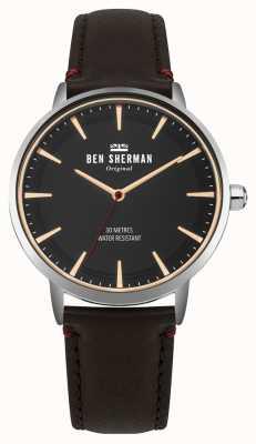 Ben Sherman Mostrador preto fosco e pulseira de couro marrom WB020BR