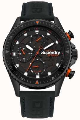 Superdry Oficial de aço dia e data sub disca pulseira de couro preto SYG220BB