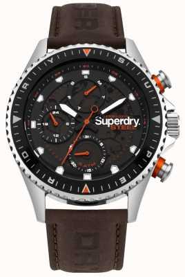 Superdry Oficial de aço dia e data sub mostrador pulseira de couro marrom SYG220BR