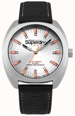 Superdry Scount infantaria caixa de aço inoxidável pulseira de couro preto SYG228B