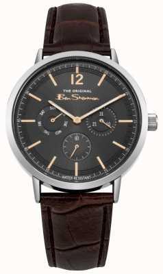 Ben Sherman Caixa de aço inoxidável dia e data de exibição pulseira de couro marrom BS011EBR