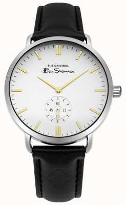 Ben Sherman Branco mostrador marcadores de ouro segundos sub mostrador pulseira de couro preto BS009WB
