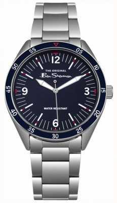 Ben Sherman Caixa e bracelete de aço inoxidável de prata do seletor da marinha azul BS007USM