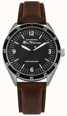 Ben Sherman Mostrador preto de prata caixa de aço inoxidável pulseira de couro marrom BS007BBR