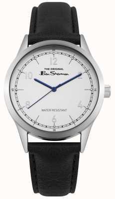 Ben Sherman Mostrador branco azul mãos caixa de aço inoxidável couro preto BS012WB