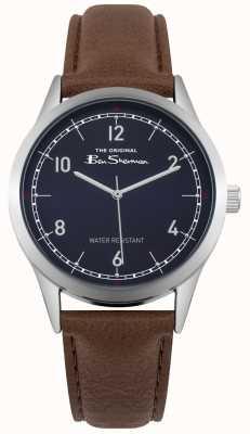 Ben Sherman Mostrador azul caixa de prata em aço inoxidável pulseira de couro marrom BS012UBR