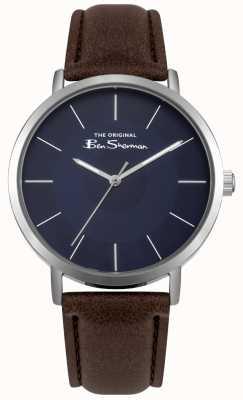 Ben Sherman Caixa de aço inoxidável mostrador azul pulseira de couro marrom BS014UBR