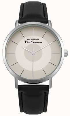Ben Sherman Creme multishade dial aço inoxidável caixa de couro preto BS014WB