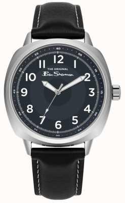 Ben Sherman Caixa de aço inoxidável mostrador azul pulseira de couro preto BS003UB