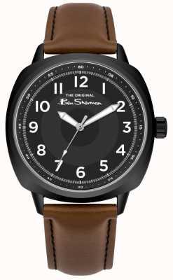 Ben Sherman Mostrador preto caixa de aço inoxidável pulseira de couro marrom BS003BT