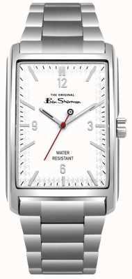 Ben Sherman Caixa de aço inoxidável com mostrador retângulo branco e pulseira BS013WSM