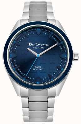 Ben Sherman Caixa e bracelete de aço inoxidável com mostrador azul BS005USM
