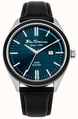 Ben Sherman Mostrador de data mostrador azul escuro pulseira de couro preto BS004UB