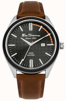 Ben Sherman Mostrador de data com mostrador preto pulseira de couro marrom BS004BT