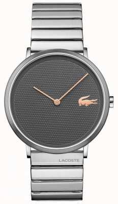 Lacoste Lua cinza dial caixa de aço inoxidável e pulseira 2010954