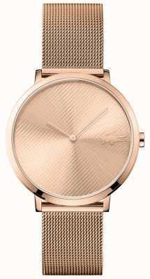 Lacoste Moon dial de ouro rosa e pulseira de malha de ouro rosa 2001028