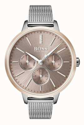 Hugo Boss Dia da sinfonia negra e data de exibição de alça de malha caso de ouro rosa 1502423