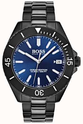 Hugo Boss Edição Oceano data mostrador azul mostrar pulseira ip preta 1513559
