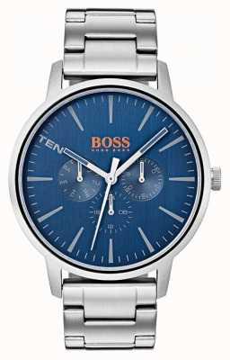 Hugo Boss Orange Mostrador azul dia e data exibir pulseira de aço inoxidável 1550067
