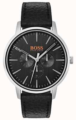 Hugo Boss Orange Mostrador preto dia e data sub mostrador pulseira de couro preto 1550065