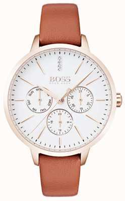 Boss Mostrador branco dia e data de exibição de ouro rosa caso couro tan 1502420