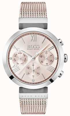 Hugo Boss Cronógrafo rosa dial dia e data sub mostradores 1502426
