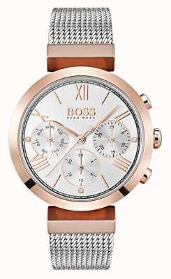 Boss Mostrador de prata dia e data exibir numerais romanos pulseira de malha 1502427