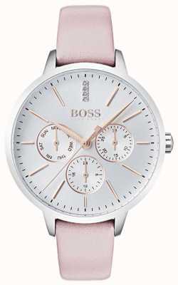 BOSS Prata dial dia e data sub dial cristal definir couro rosa 1502419