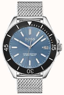 Hugo Boss Luz azul mostrador preto moldura oceano edição malha cinta 1513561