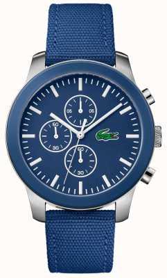 Lacoste Mens 12.12 cronógrafo mostrador azul pulseira de nylon azul 2010945
