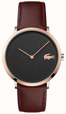 Lacoste Mostrador preto estampado subiu caixa de ouro pulseira de couro marrom 2010952