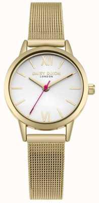 Daisy Dixon Vivemos moda pulseira de malha de ouro mostrador branco DD069GM