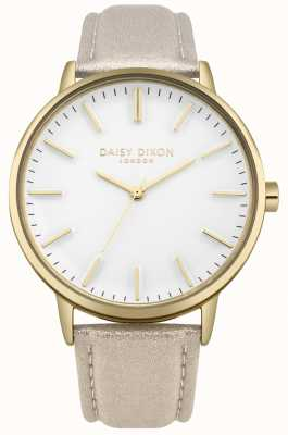 Daisy Dixon Senhoras harper mostrador branco caixa de ouro pulseira de couro rosa DD061GG
