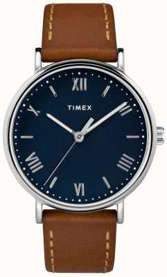 Timex Mens southview 41mm pulseira de couro marrom TW2R63900D7PF