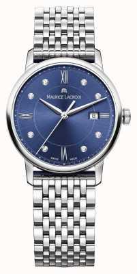 Maurice Lacroix Mostrador de aço inoxidável eliro azul para mulher EL1094-SS002-450-1