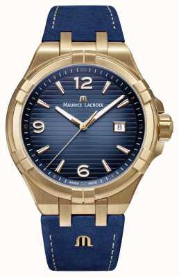 Maurice Lacroix Mens aikon edição limitada bronze case blue bezerro cinta AI1028-BRZ01-420-1