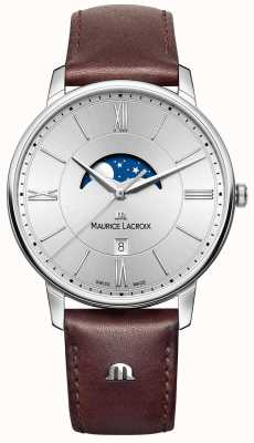Maurice Lacroix Mens eliros moonphase pulseira de couro marrom mostrador prateado EL1108-SS001-110-1