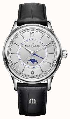 Maurice Lacroix Les classiques mens moonphase pulseira de couro preto LC6168-SS001-120-1