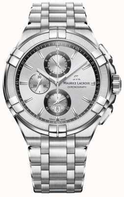 Maurice Lacroix Mens aikon pulseira de aço inoxidável mostrador prateado AI1018-SS002-130-1